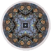 Winged Creatures In A Star Kaleidoscope #2 Round Beach Towel