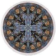Winged Creatures In A Star Kaleidoscope #3 Round Beach Towel