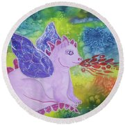 Round Beach Towel featuring the painting Winged Dragon by Ellen Levinson