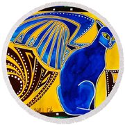 Winged Feline - Cat Art With Letter P By Dora Hathazi Mendes Round Beach Towel