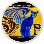 Winged Feline - Cat Art With Letter P By Dora Hathazi Mendes Round Beach Towel by Dora Hathazi Mendes