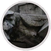 Round Beach Towel featuring the photograph Winged Gargoyle by Christopher Kirby