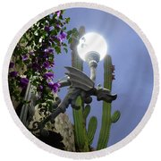 Winged Gargoyle In El Fuerte Round Beach Towel