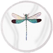 Round Beach Towel featuring the painting Winged Jewels 1, Watercolor Tropical Dragonfly Aqua Blue Black by Audrey Jeanne Roberts