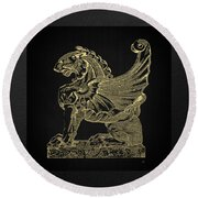 Round Beach Towel featuring the digital art Winged Lion Chimera From Casa San Isidora, Santiago, Chile, In Gold On Black by Serge Averbukh