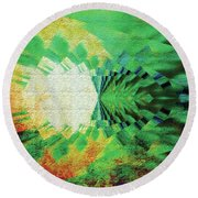 Round Beach Towel featuring the digital art Winged Migration by Paula Ayers