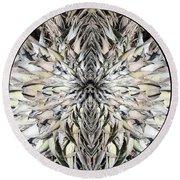 Winged Praying Figure Kaleidoscope Round Beach Towel