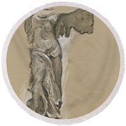 Winged Vicory Of Samothrace Round Beach Towel