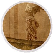 Paris, France - Louvre - Winged Victory Round Beach Towel