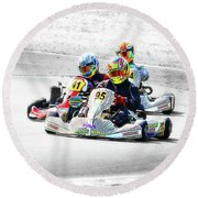 Wingham Go Karts 04 Round Beach Towel by Kevin Chippindall