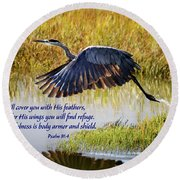 Wings Of Refuge With Scripture Round Beach Towel