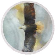 Wingspan Bald Eagle Art Round Beach Towel