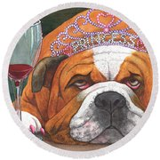 Wining Princess Round Beach Towel