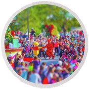 Round Beach Towel featuring the photograph Winnie The Pooh And Tigger by Mark Andrew Thomas