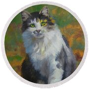 Winston Cat Portrait Round Beach Towel