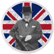 Winston Churchill And His Flag Round Beach Towel