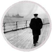 Winston Churchill At Sea Round Beach Towel