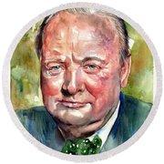 Winston Churchill Portrait Round Beach Towel