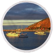 Round Beach Towel featuring the photograph Winter Afternoon Sun At Friendly Bay by Nareeta Martin