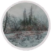 Winter, Alberta Round Beach Towel
