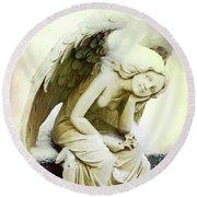 Winter Angel Round Beach Towel by Jean Haynes