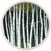 Winter Aspen 3 Round Beach Towel by Michael Swanson