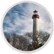 Round Beach Towel featuring the photograph Winter At Cape May Light by Kristia Adams