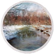 Winter At Cooper River Round Beach Towel