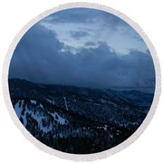 Winter At Diamond Peak Round Beach Towel