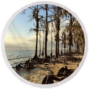 Winter At Fontainebleau State Park, Lake Pontchartrain, La Round Beach Towel
