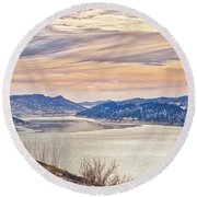 Winter At Horsetooth Reservior Round Beach Towel