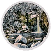 Winter At Kinsman Falls Round Beach Towel