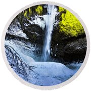 Winter At Latourell Falls Round Beach Towel