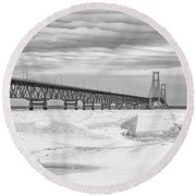 Round Beach Towel featuring the photograph Winter At Mackinac Bridge by John McGraw