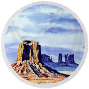 Winter At Merrick Butte Round Beach Towel