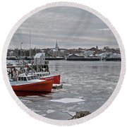Winter At Newburyport Harbor Round Beach Towel