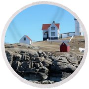 Winter At Nubble Point Round Beach Towel