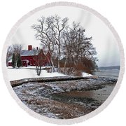 Winter At Perkins House  Round Beach Towel