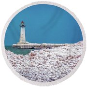 Winter At Sodus Point  Round Beach Towel