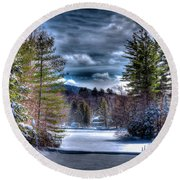 Round Beach Towel featuring the photograph Winter At The Boathouse by David Patterson