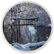 Winter At The Brook Round Beach Towel