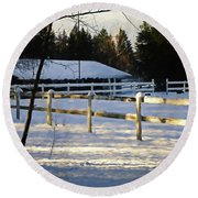 Round Beach Towel featuring the photograph Winter At The Farm 365-285 by Inge Riis McDonald