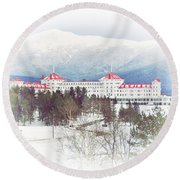 Winter At The Mt Washington Hotel 2 Round Beach Towel by Tricia Marchlik