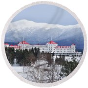 Winter At The Mt Washington Hotel Round Beach Towel by Tricia Marchlik