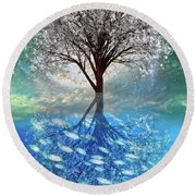 Round Beach Towel featuring the digital art Winter At The Reef by Debra and Dave Vanderlaan