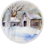 Winter Barn Round Beach Towel