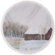 Winter Barn Round Beach Towel by Stanton Allaben