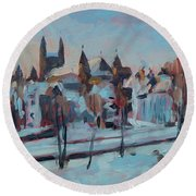 Winter Basilica Our Lady Maastricht Round Beach Towel