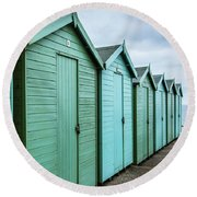 Winter Beach Huts IIi Round Beach Towel
