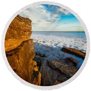 Winter Beach Sunset Round Beach Towel